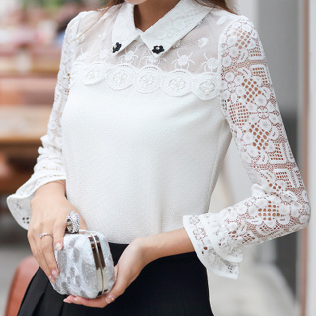 New 2017 Spring Women White Shirt Pullovers Patchwork Lace Hollow Out Three Quarter Sleeve Slim Elegant Ladies under shirts tops