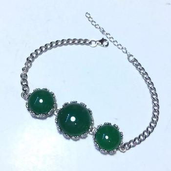 S925 Sterling Silver Inlaid Natural Chrysoprase Bracelet Lace Retro Thai Silver Simple Female Fashion Bracelet