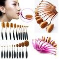 Pro 10 UNIDS Rosa de Oro Oval Pincel de Maquillaje cepillo de Dientes Maquillaje Pinceles Set Powder Blush Brush Kits de Usos Múltiples