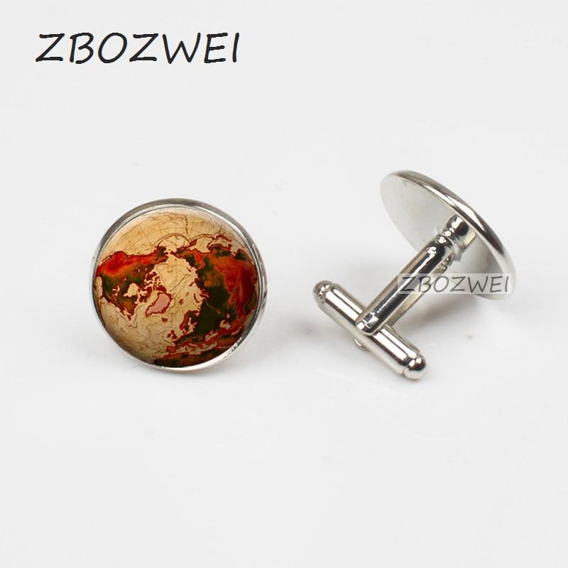 ZBOZWEI 2018 Men Cufflinks Bronze Compass Design Cuff link Accessories Men High Quality Photo Cufflinks Jewelry Glass Cuff
