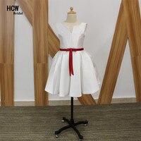 Barato blanco Primera Comunión vestido 2018 una línea de satén con el marco rojo hermoso Vestidos de flores de niña puffy Junior vestidos de fiesta