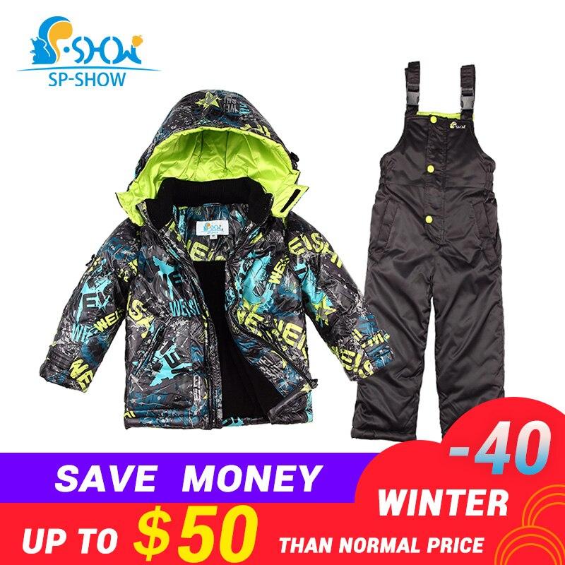 Enfants Garçon Et Fille De Luxe Marque Ski Veste Coupe-Vent Veste Épaisse Chaud D'hiver FurJacket/Manteau + Pantalon Livraison Gratuite 004