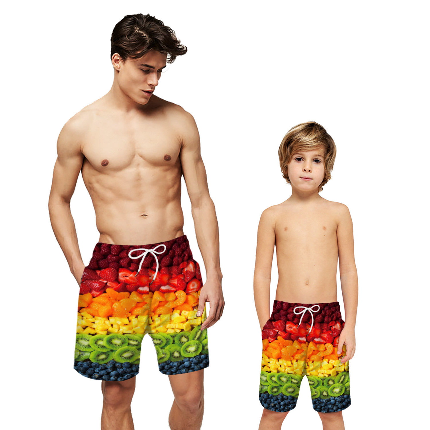 Fruit Print   Board     Shorts   Men Boys Beach   Shorts   Surf Boardshorts Father Son Swimwear Swimming   Short   Swim Wear Lined Bathing Suit