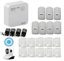 Wifi + sistema de alarma gsm inalámbrico sistema de alarma antirrobo con alarma de la puerta para el hogar y motion sensor de puerta de alarma inalámbrico cámara ip