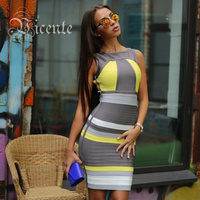 Free Shipping Runway New 2014 FRONT ZIP COLOR BLOCKED HL BANDAGE DRESS