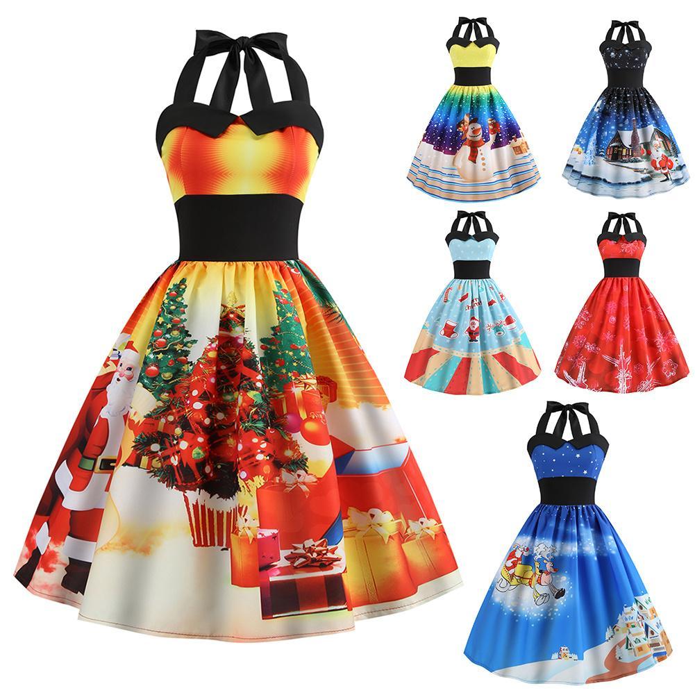 Vintage Dress Christmas Party Dress Retro Style Women's Hepburn Style O-neck Halter Sleeveless Christmas Print Piecing Dress XXL