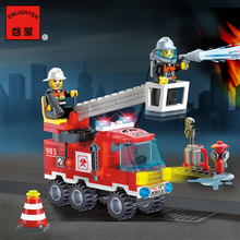 Enlighten Model building kits compatible with lego city Fire Fighting Truck 932 3D blocks Educational toys hobbies for children