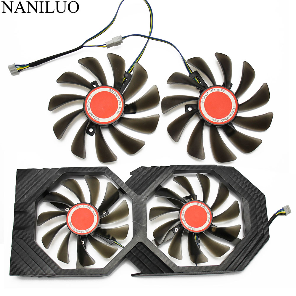 2PCS/lot 95MM FDC10U12S9 C CF1010U12S Cooler Fan Replace For XFX AMD Radeon RX 580 590 RX580 RX590 Graphics Card Cooling Fan-in Fans & Cooling from Computer & Office