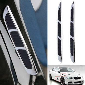 2pcs Personality 3D Sticker Car Chrome Grille Shark Gill Simulation Air Flow Vent Fender Decal Auto Decoration drop shipping HOT image
