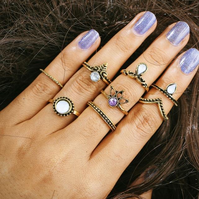 SHUANGR 8pcs/Set Charm Gold Color Opal Midi Finger Ring Set for Women Vintage Bo