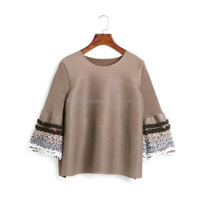 Mode Bleu Miyake Ruches Noir Style marine Stock gris Livraison shirts T Flare En Sept Fold Gratuite kaki Manches Lâche vUwqqE