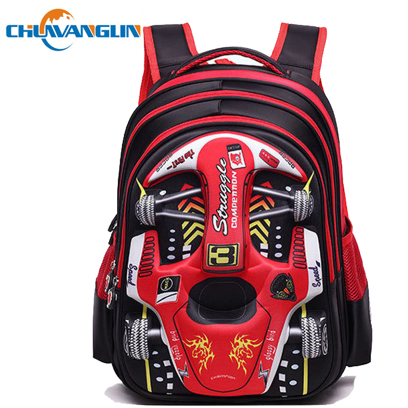 Children's Backpack Grades 1-6 Primary School Student Backpack 3D Car Pattern Light School Bags For Boys Mochila M3440