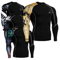 Men's Compression Tight Shirts Bodybuilding Skinny Weight Lifting Layer Long Sleeves MMA Fitness T-Shirt