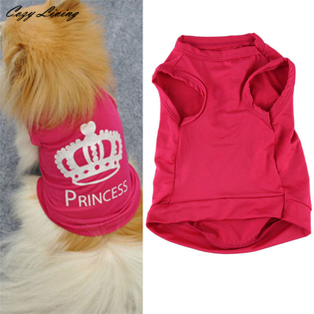 1 PC Pet Clothes For Small Dog XS-L Fashion Pet Dog Cat Cute Princess T-shirt Clothes Vest Summer Coat Puggy Costumes D19
