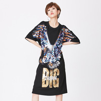 Women Short Sleeve T Shirt Dress Summer Loose Casual Sequined Embroidery Eagle Good Quality Elegant Women