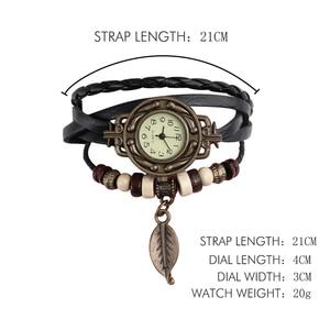 Image 3 - Multicolor High Quality Women Genuine Leather Vintage Quartz Dress Watch Bracelet Wristwatches leaf gift Christmas free shipping