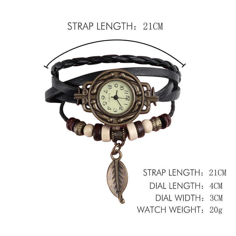 Multicolor คุณภาพสูงผู้หญิงหนัง VINTAGE Quartz นาฬิกาสร้อยข้อมือนาฬิกาข้อมือ Leaf ของขวัญ Christmas จัดส่งฟรี