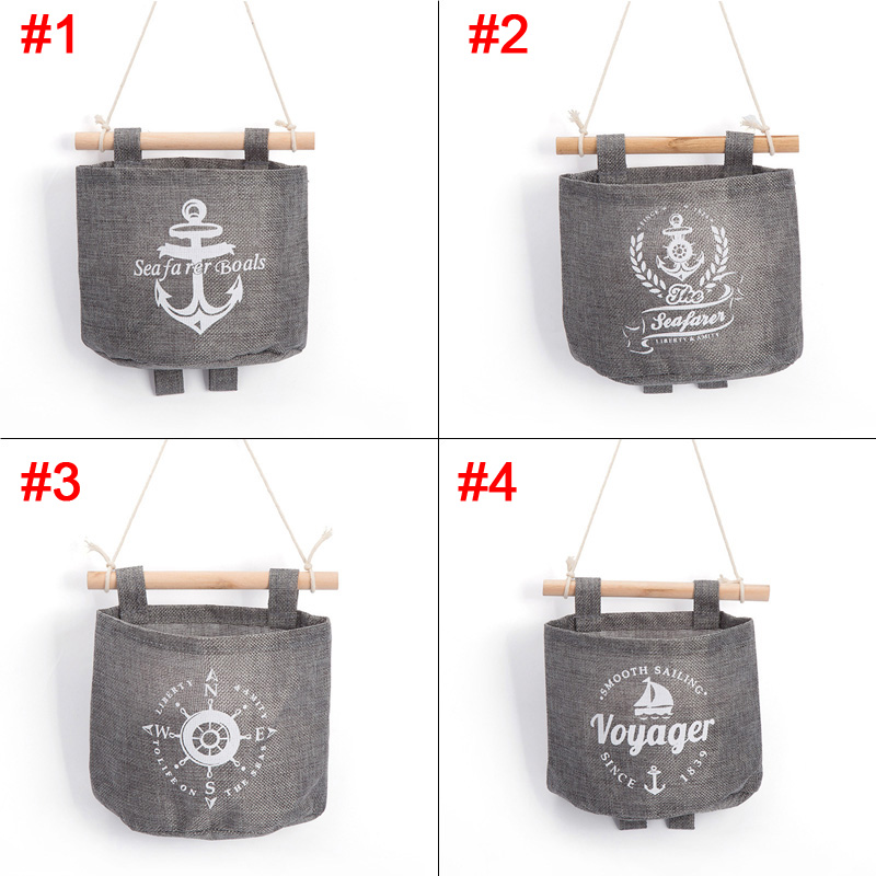 New Navy Style Trendy Cotton Linen Grey Sundries Organizer Hanger Bag Wall Hanging Storage Bag Sale