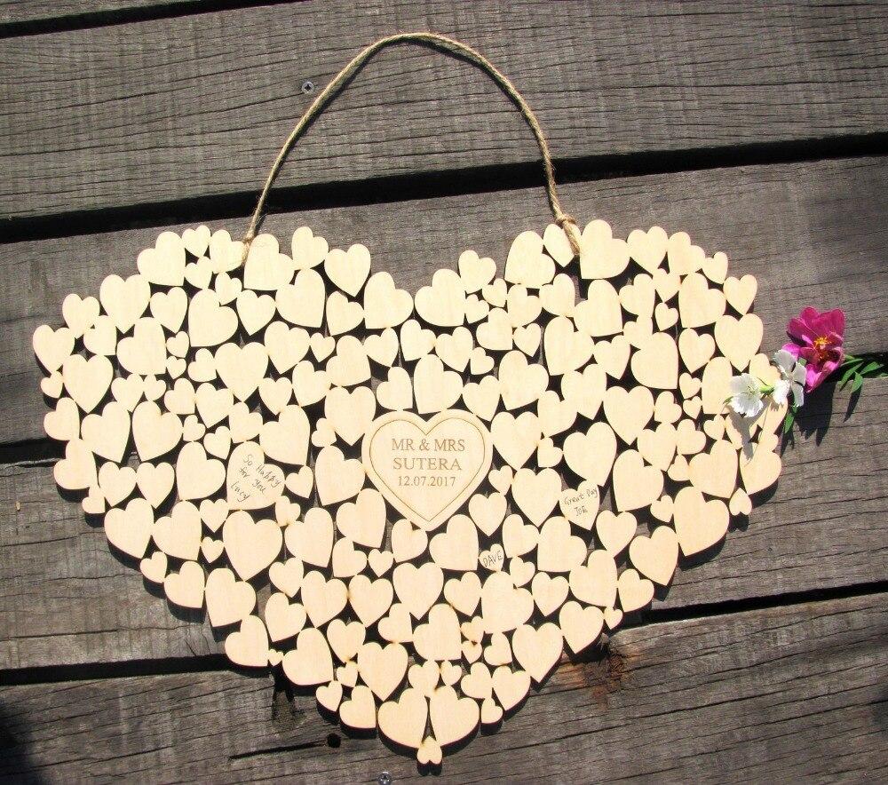 Costumes Personalizado guestbook Do casamento do Coração pendurado coração Wedding guest book alternativa
