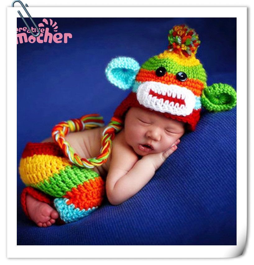 Monkey Doll Set Baby Newborn Toddler Crochet Knit Photo Prop Hat Beanie Cap