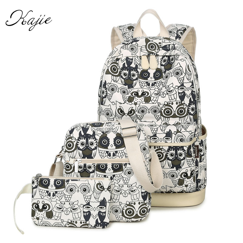 Kajie 3 Pcs Set Women Animal Owl Printing Backpack Canvas Bookbags School Backpacks Bags For Teenage Girls Bagpack Backbag