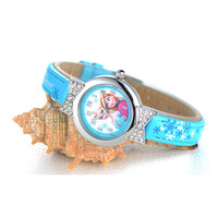 Disney Cartoon Children Watches Girls Quartz Watch Top Brand Frozen PU Leather Watchband Fashion Girls Frozen Watch Dropshipping
