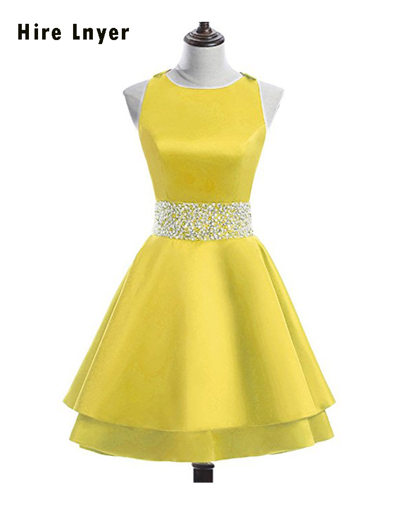 Najowpjg More Colors Choose Sparkly Beading Sequins Open Back Above Knee Satin Cocktail Party Dress 2019 Vestido De Festa Curto