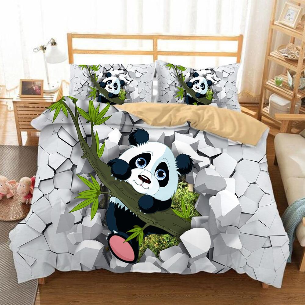 YI CHU XIN panda Bedding Sets 2 3pcs cartoon Bed Linen kids Duvet Cover with Pillowcases
