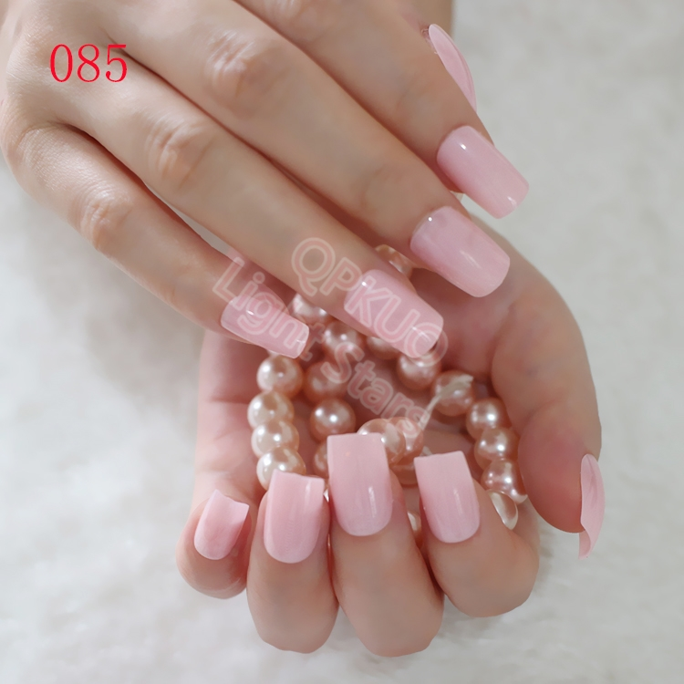Long Size Candy Fake Nails Tips Clear Light Pink False Nails DIY ...