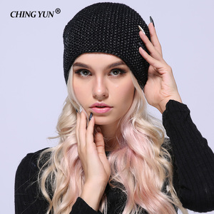 Image 1 - Зимние вязаные шапки CHING YUN 2018, теплые шапки для женщин, кашемировая вязаная шапка, Женская шерстяная пушистая подкладка, Посеребренная пряжа