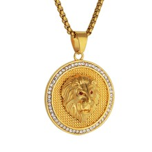 2019 New Goofan Hiphop Lion Head Disc Pendant Necklace High Quality Stainless Steel Fashion Jewelry For Men Women Gift STN2505(China)