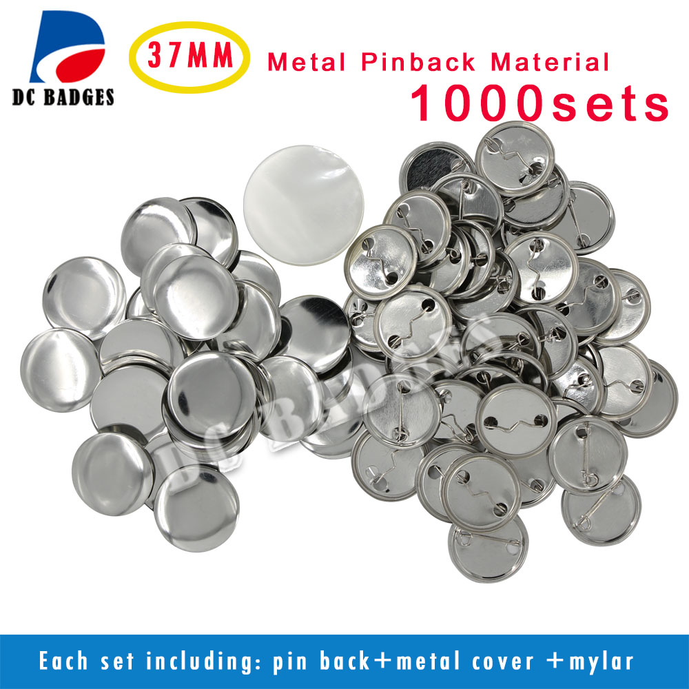 New Pro 1.5 37mm 1000sets  Metal Pinback Badge Button Material Supplies free shipping new pro 1 1 4 32mm badge button maker machine adjustable circle cutter 500 sets pinback button supplies