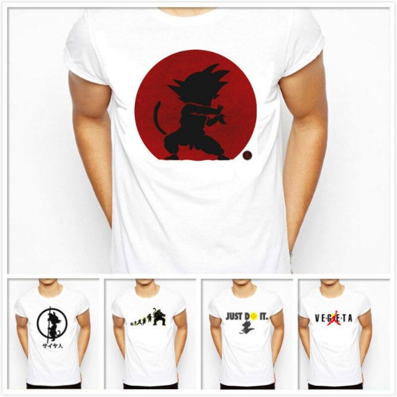 2018 Новый Известный Dragon Ball Супер Для мужчин одежда Son Goku Саян печатных Вегета футболка белый japaness Аниме Драконий жемчуг рубашка ...