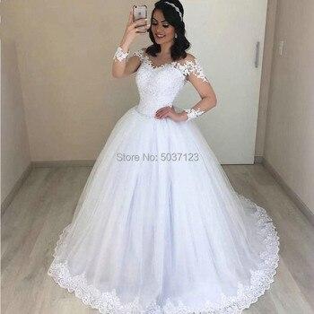 Ball Gown Wedding Dress 2019 Long Sleeve V-Neck Tulle Applique Lace Bridal Gown White Long Bride Dress Plus Size Robe De Soiree