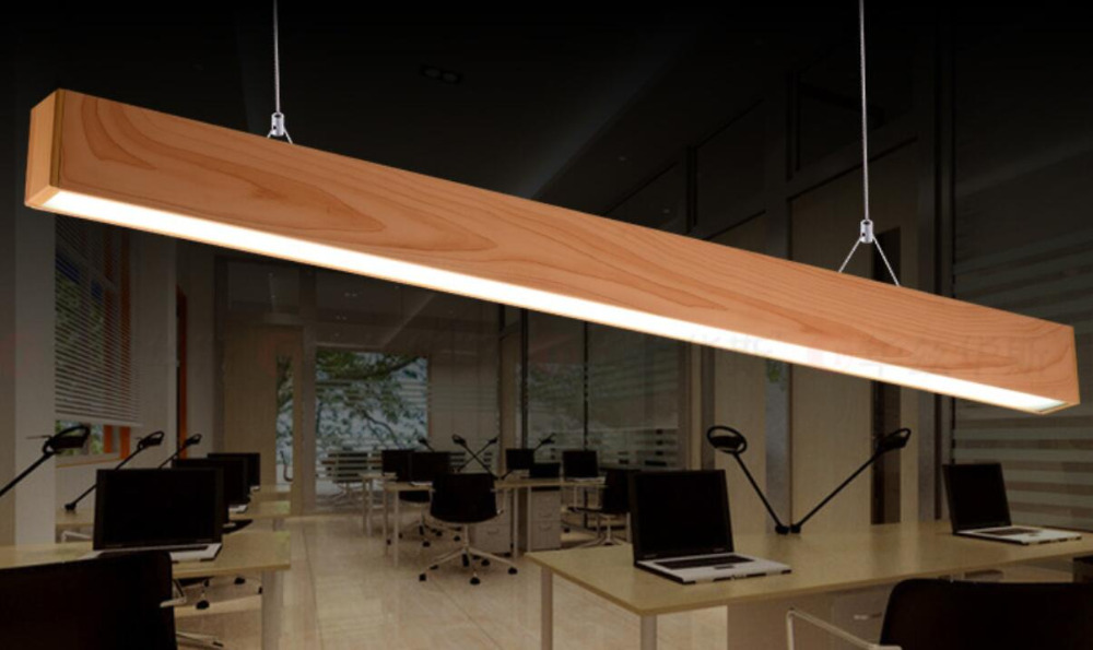 Led Lighting Pendant Lights Office Studio Imitation Wood Aluminum  Rectangular Table Line
