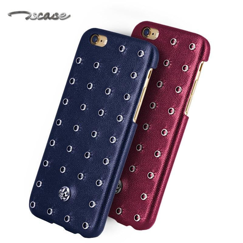 Цена за Новый для iphone 6 6s 4.7 реальным ''натуральная кожа телефон case задняя крышка природных коровьей + ретро заклепки для iphone6 plus 5.5''