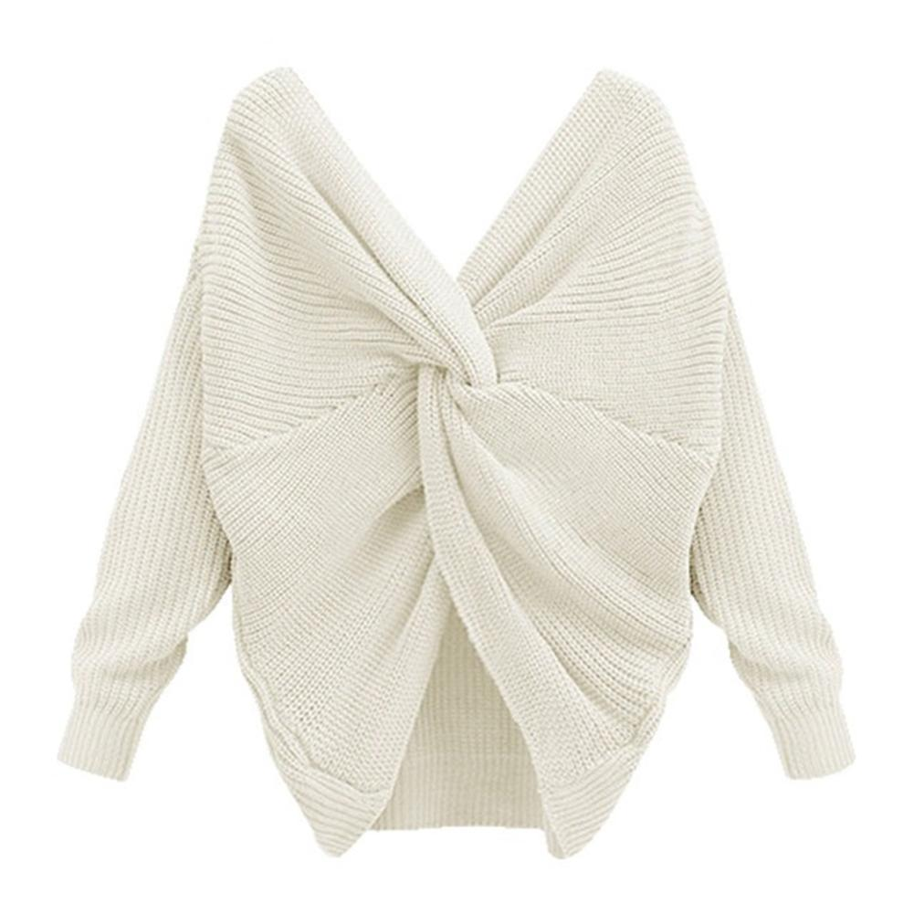 Women Sexy V-neck Solid Color Backless Sweater Back Cross Loose All-matched Long-sleeved Sweater Female