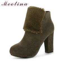 b8dbac31 Meotina invierno mujeres botas plataforma botas de tacón alto cremallera  piel gruesa tobillo zapatos Zipper Verde