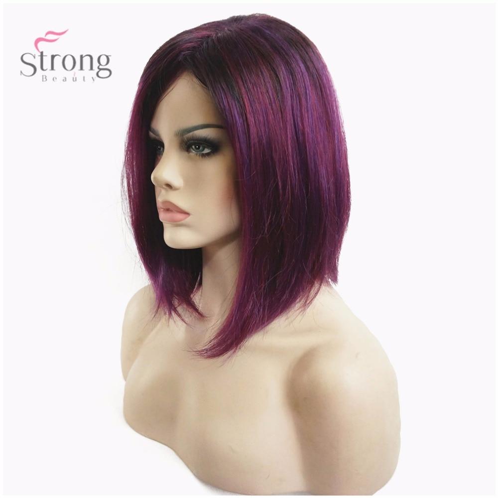 StrongBeauty Women's Natural Wigs Wine red Purple Medium Bob style Kanekalon Synthetic Full Wig