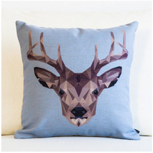 Cartoon Geometry Reindeer Elk Throw Messager Decorative Vintage Nap Pillow Cover Fiber Flax Emoji Pillow Case Home Decoration