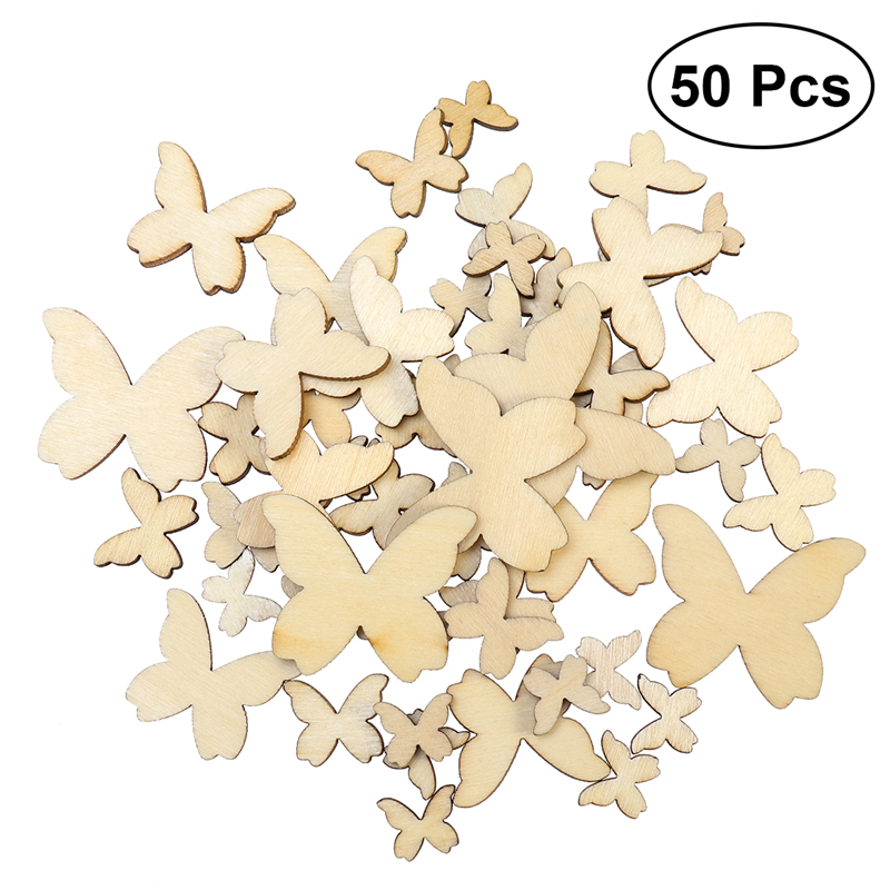 50pcs mixed size wooden butterflies cutout mdf wooden for Wood cutouts for crafts
