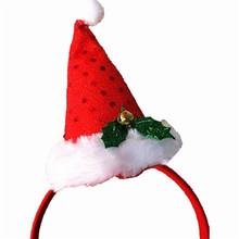 Merry Christmas Santa Claus Plush Hat Dress Costume DIY Party decor Xmas gift Dress Up Supply head wear Hair Band gift for Kids