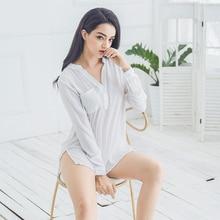 Inplusni women sleep top chiffon sexy white sleep shirt pyjama interest in big yards han edition long pijama women sleepwear