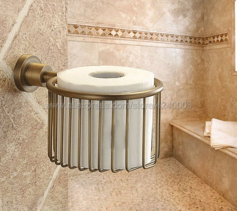 Antique Br Wall Mounted Toilet Roll Paper Storage Basket Bathroom Accessories Holder Tissue Rack Kba027