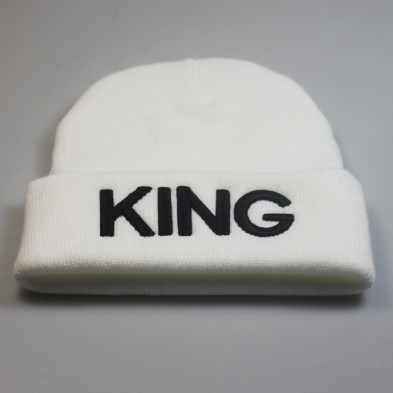 Beanies Cap KING QUEEN Letter Embroidery Warm Winter Hat Knitted Cap Hip Hop Men Women Lovers Street Dance Bonnet Skullies Black 30