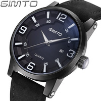 GIMTO Mens Watches Top Brand Luxury Creative Leather Strap Quartz Watch Men 30M Waterproof Calenda Male