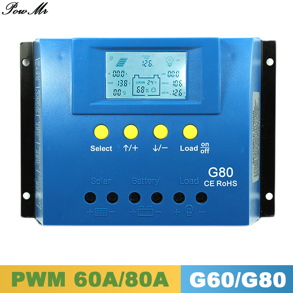 ФОТО 12V 24V 80A 60A PWM Charge Controller Backlight LCD Solar Panel Battery Charge Regulator with Load Light and Timer Control PowMr
