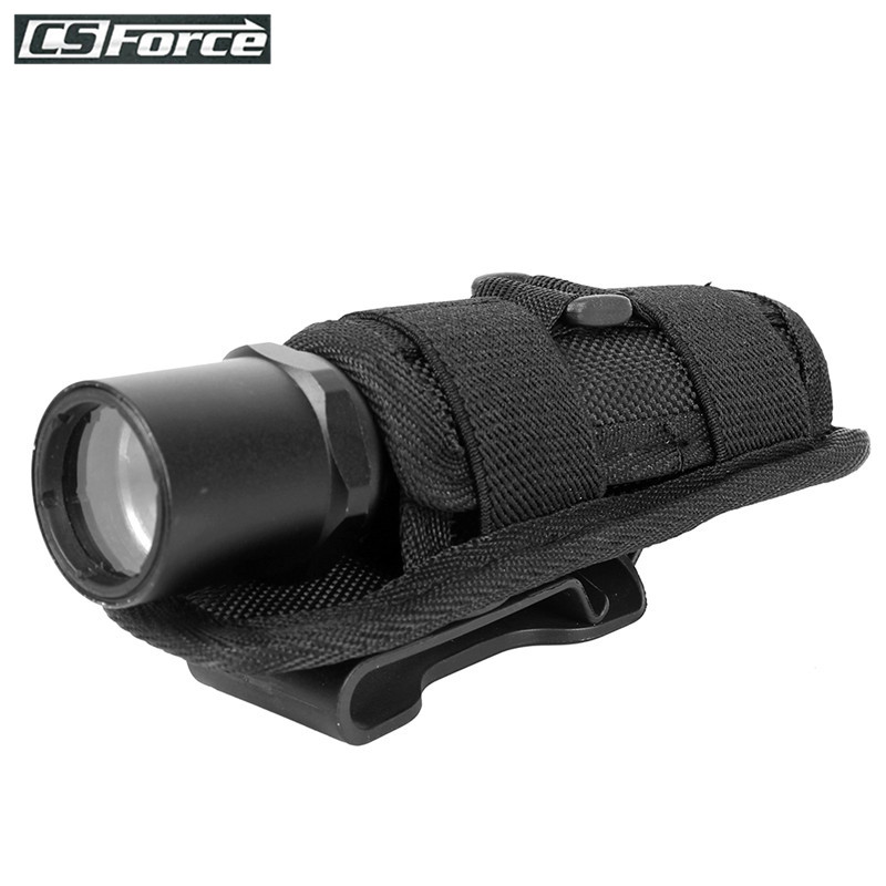 Tactical Flashlight Holder 360 Degree Rotatable Clip Torch Pouch MOLLE for Belt Outdoor Flashlight Pouch Hunting