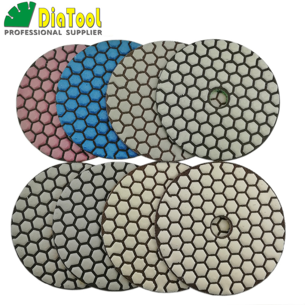 DIATOOL 8pcs/set 100MM Dry Diamond Flexible Polishing Pads (new#50-1and #100-1) 4inch Stone Sanding Disc For Marble Ceramic