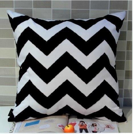 45*45 cm Home Decorative European Black White Chevron Zigzag Wave Digital Printing Throw Pillow Case Cushion Cover